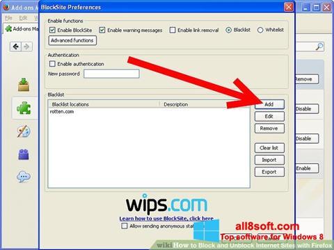 સ્ક્રીનશૉટ uBlock Windows 8
