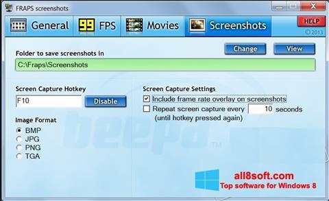 સ્ક્રીનશૉટ Fraps Windows 8