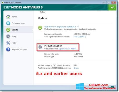 સ્ક્રીનશૉટ ESET NOD32 Windows 8