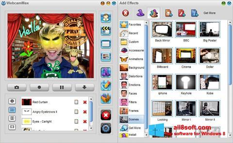 સ્ક્રીનશૉટ WebcamMax Windows 8